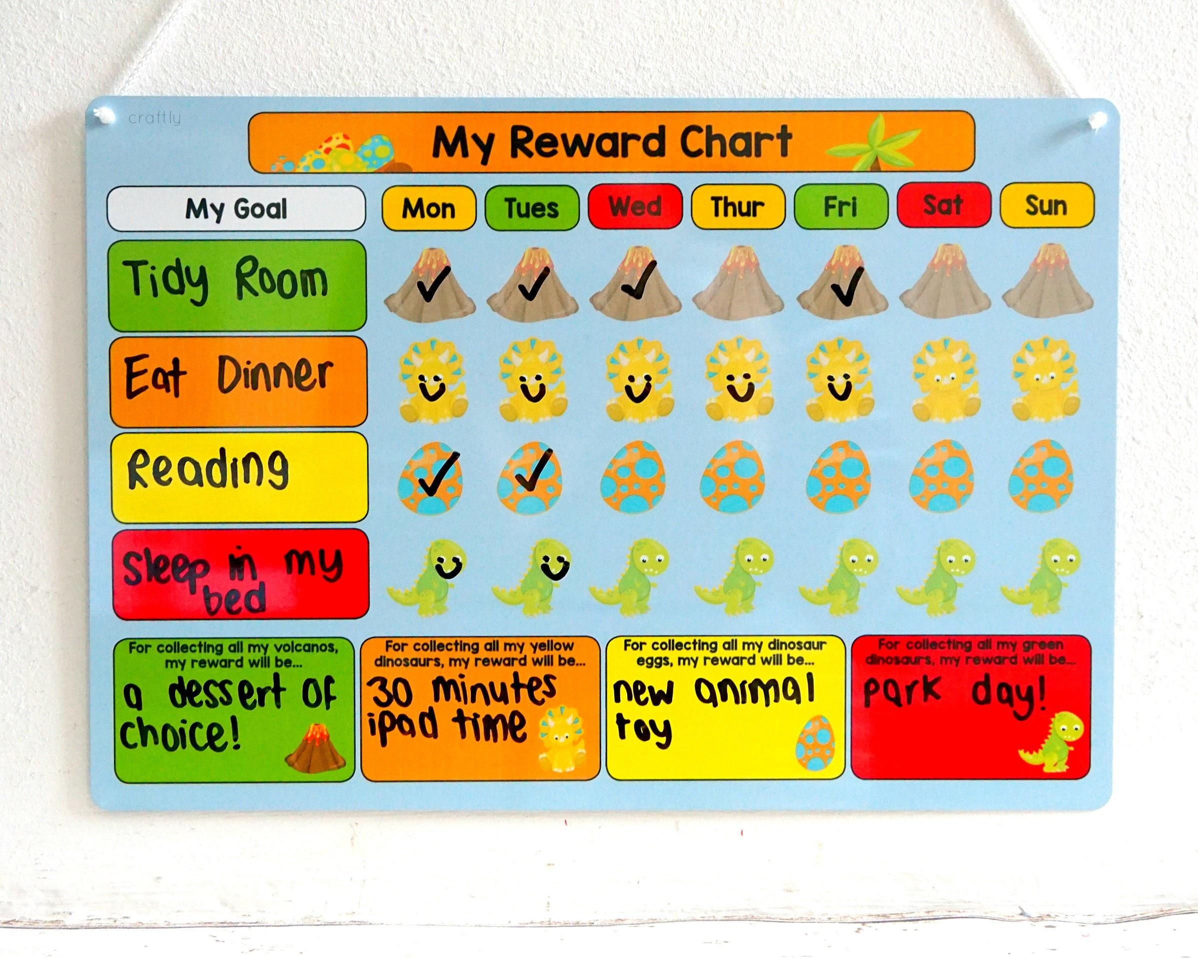 Tabla de recompensa de dinosaurio entrenamiento niños   Etsy