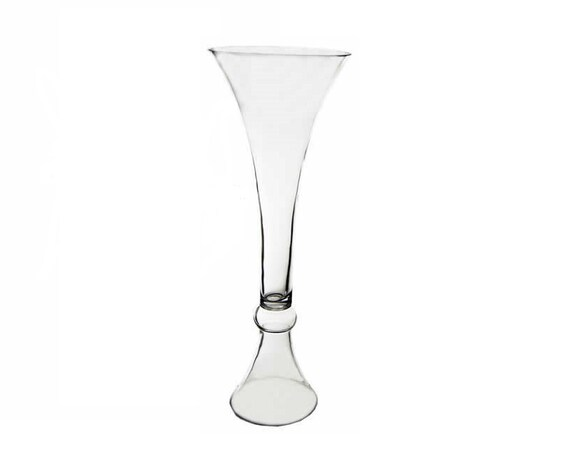 Tall Trumpet Reversible Glass Vase Flare Gtr163 Clear Etsy