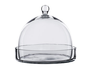 Glass Cloche 7.5 inches Tall with Tray (including Glass Tray)