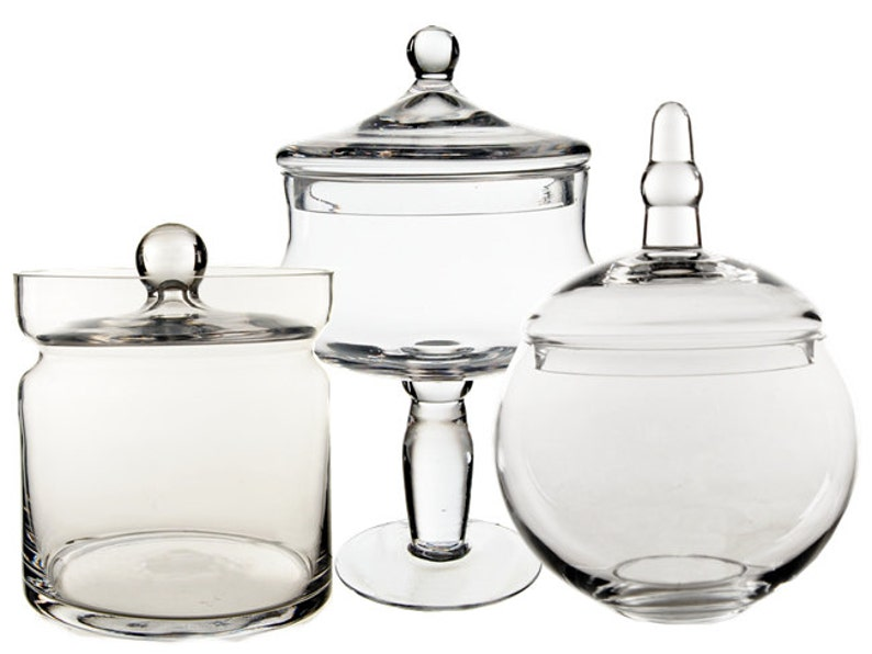 glass apothecary jar set of 3 candy buffet jar with lids etsy rh etsy com