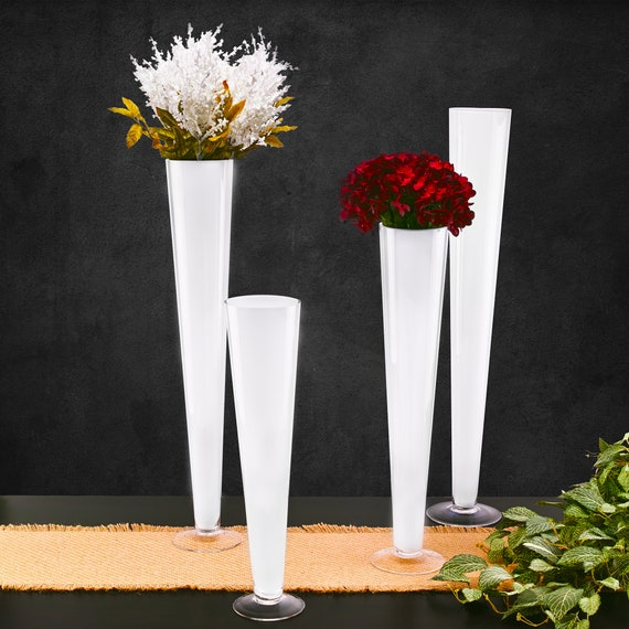 Trumpet Pilsner White Glass Vase Collection Available In 4 Etsy