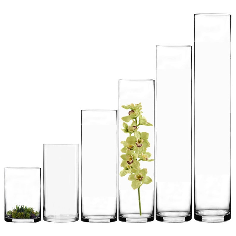 12 Pcs Glass Cylinder Vase 4 Opening Hand Blown With Etsy