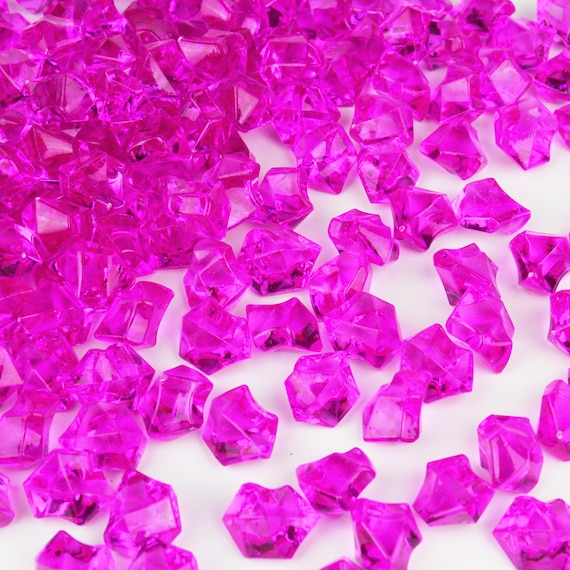 Fuchsia  Acrylic Ice Chips Table Scatter Confetti Floral Arranging Vase Fill 1lb