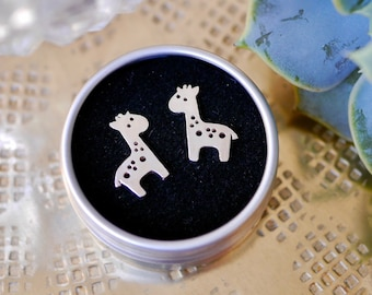 Sterling Silver Giraffe Earrings | Animal Earrings | Giraffe Studs | Giraffe Jewellery | Giraffe Jewelry | Cute Earrings | Silver Earrings