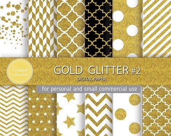SALE *** Gold Glitter Digital Paper - Backgrounds - for graphic design, crafts,scrap booking - INSTANT DOWNLOAD (DP0051 #2)