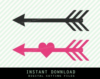 Heart arrow  Svg ,Png,JPG ,DXF cutting file Cricut silhouette cameo cut file - Instant Download - ( no.10)