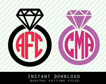 Diamond ring   Svg ,Png,JPG ,DXF cutting file,(ring only,monogram frame) Cricut silhouette cameo cut file - Instant Download ( no.10)