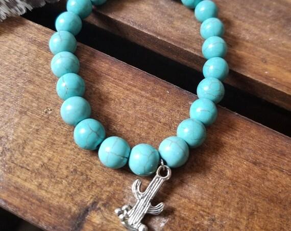 Desert Wanderer : Reiki Attuned Turquoise Howlite Healing Bracelet