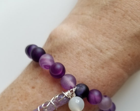 Purple Agate, Celestial Aura Quartz, and Moonstone Healing Bracelet