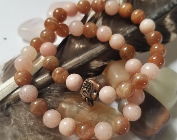Sun and Moon : Reiki Attuned Sunstone and Pink Moonstone Healing bracelet