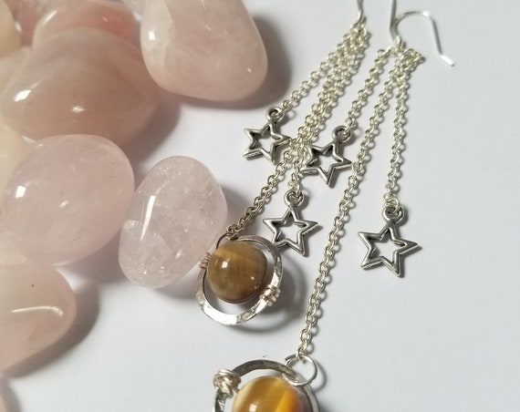 Return to Saturn: Reiki Attuned Tiger Eye Earrings