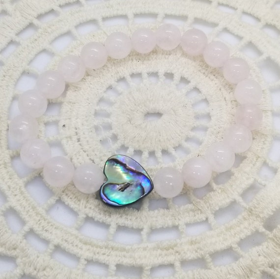 Heart of the Sea : Reiki Attuned Rose Quartz and Abalone Shell Healing Bracelet