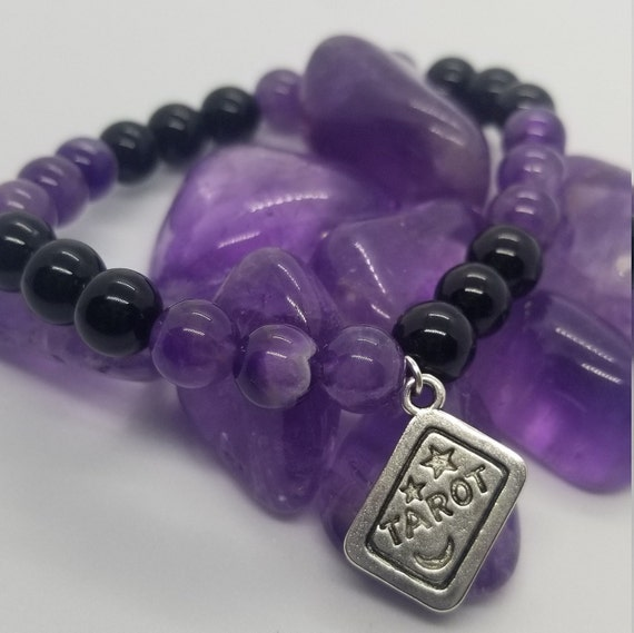 Witchy Woman: Reiki Attuned Black Onyx and Amethyst Healing Bracelet