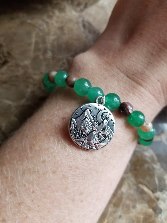 Into the Forest:Reiki Attuned Green Aventurine and Jasper Healing Bracelet,  woodland jewelry, hiking bracelet, camping lover, hiker jewelry