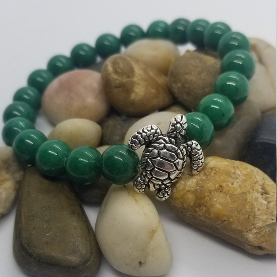 Luck and Prosperity: Reiki Attuned Green Jade Healing Bracelet// intention jewelry// sea turtle bracelet// lucky charm bracelet