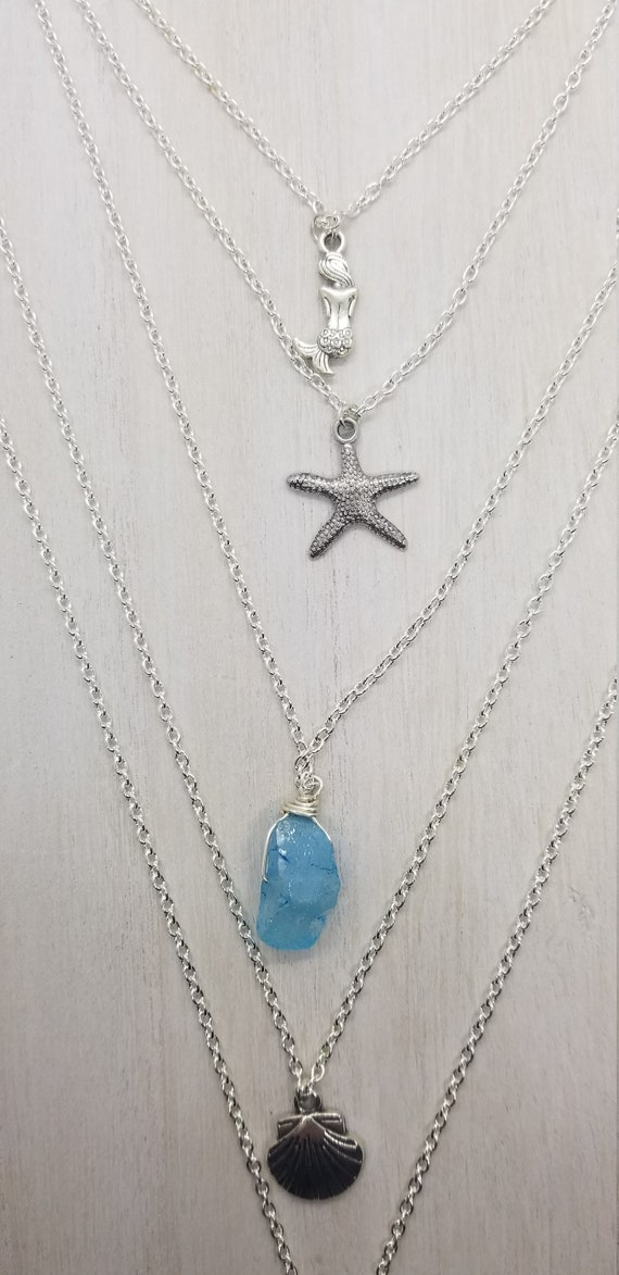 Ocean Goddess Layered Necklace with Reiki Attuned Blue Quartz