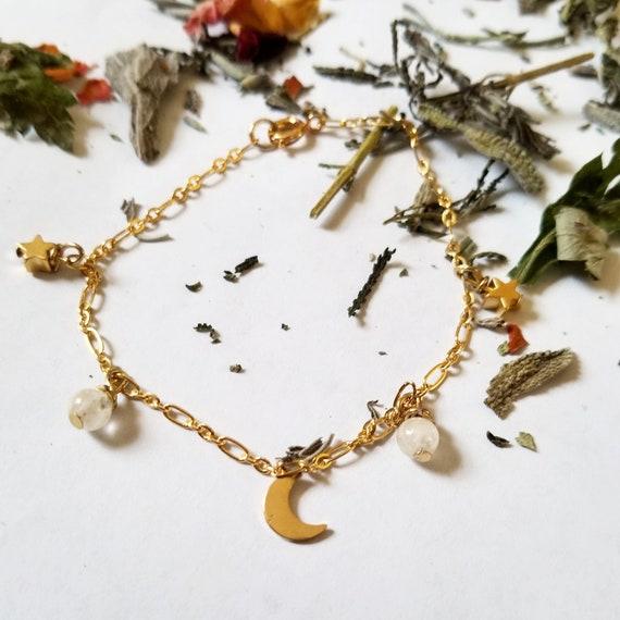 Celestial Charm Bracelet with Reiki Attuned Moonstone