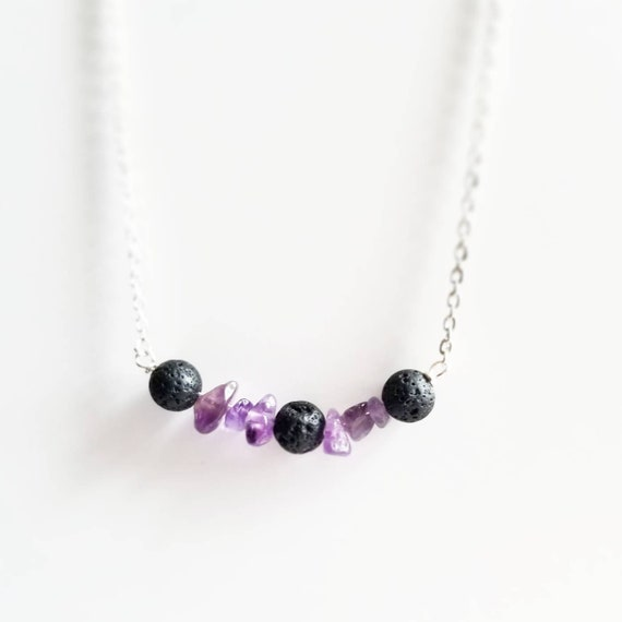 Amethyst and Lava Stone Diffuser Necklace