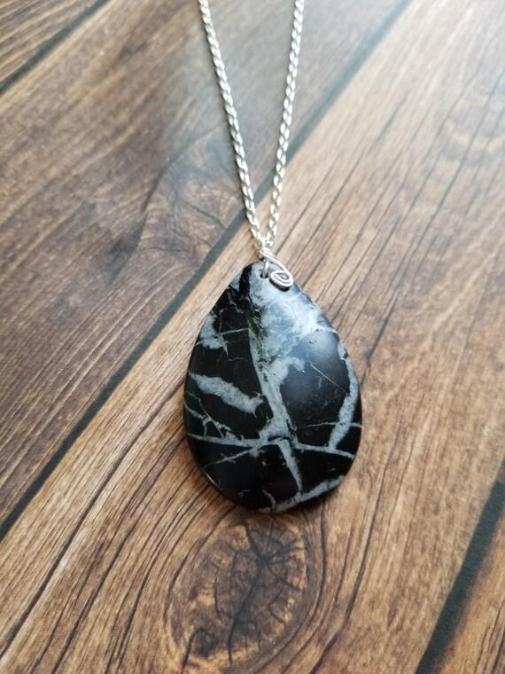 Reiki attuned Snowflake Obsidian Pendant Necklace