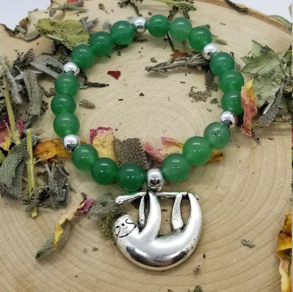 Take it Easy: Reiki Attuned Green Aventurine and Sloth Charm Healing Bracelet
