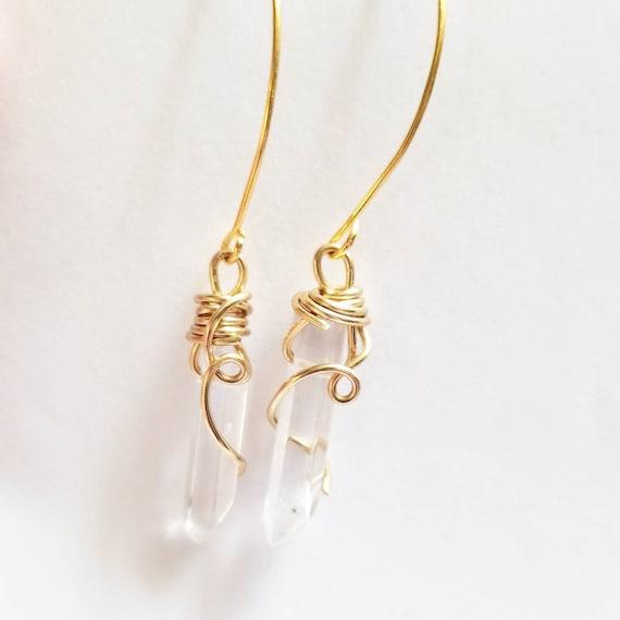 Reiki Attuned Quartz Crystal Earrings