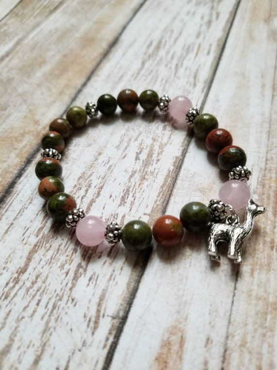 Llama Mama: Reiki Attuned Unakite and Rose Quartz Healing Bracelet