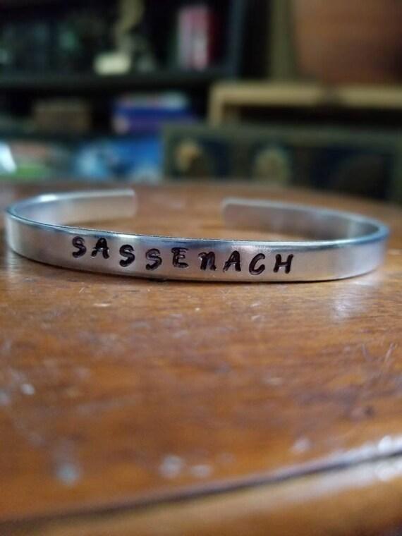 Sassenach Metal Stamped Bracelet, Highlander,  Outlander Bracelet, Jamie and Claire