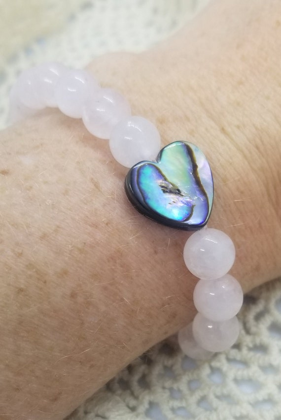 Heart of the Sea : Reiki Attuned Rose Quartz and Abalone Shell Healing Bracelet/heart chakra jewelry// fertility bracelet/ intention jewelry