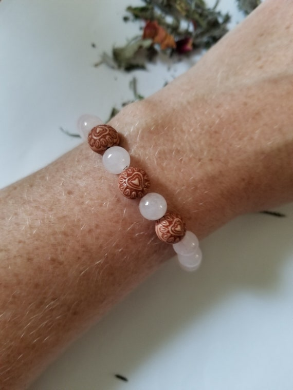 From the Heart: Reiki Attuned Rose Quartz Healing Bracelet