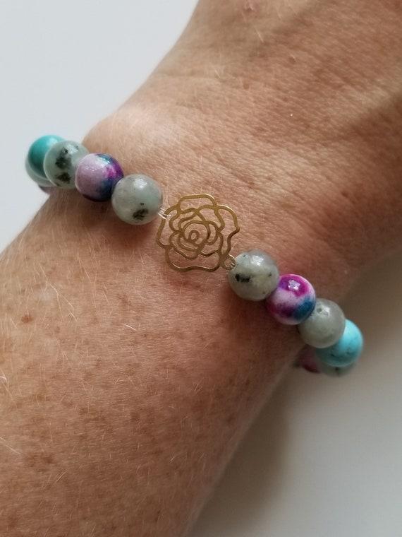 Jade, Turquoise Howlite, and Lotus Jasper Healing Bracelet