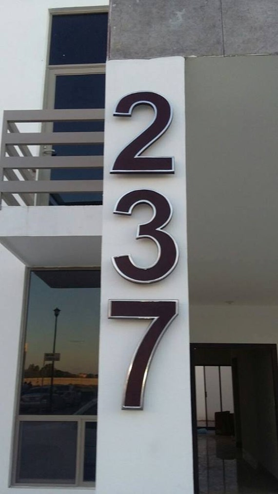 Modern House Numbers Set Of 5 Aluminum Metal Modern Font Etsy