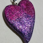 A Fun 'Keys to My Heart'  Valentine's Day Key chain - Resin with Pink/Purple glitter, Medium Heart shaped Key ring, keychain, keychain