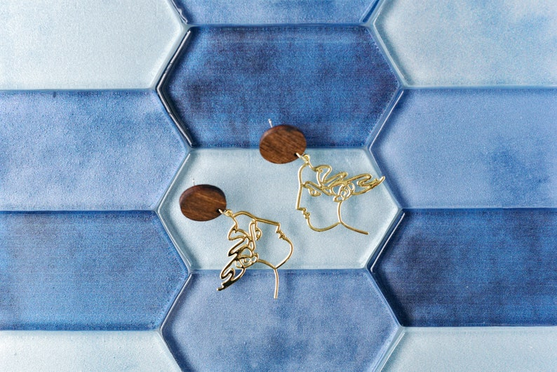 Greek Goddess Face Statement Earrings Wood and Brass Jewelry Nickel Free Laser Cut Birch