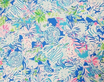 dfac32c7d882 Lion Around cotton poplin fabric 6X6, 9X18 or 18X18 inches~ Authentic Lilly  Pulitzer ~Lily ~