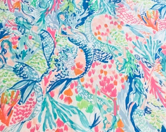 Mermaid's Cove print  9 X 18 or 18 X 18 inches  Lilly Pulitzer signature fabric