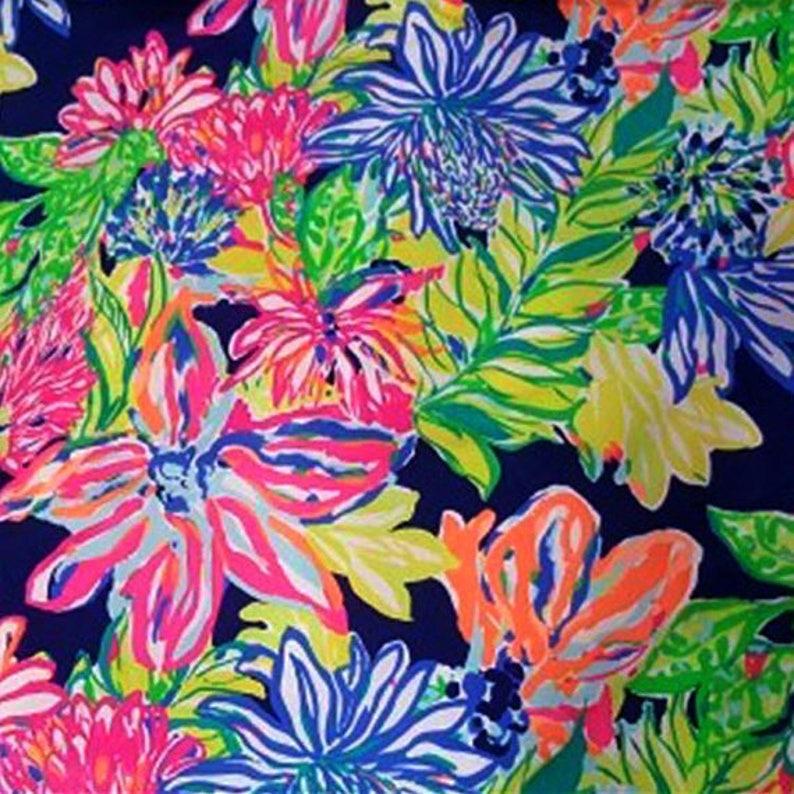 1fc6c8f0bf4f43 Navy Travelers Palm cotton poplin fabric 18 X 18 or 18 X 9 | Etsy