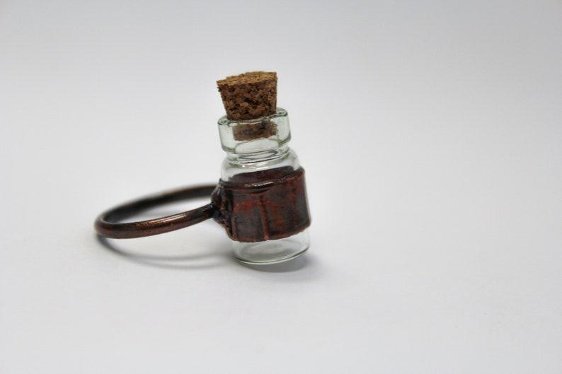 Copper Electroformed Jewelry Glass Keeper Bottle Ring Antiqued Copper Glass Bottle Jewelry Cork Vial Jewelry Witchy Jewelry