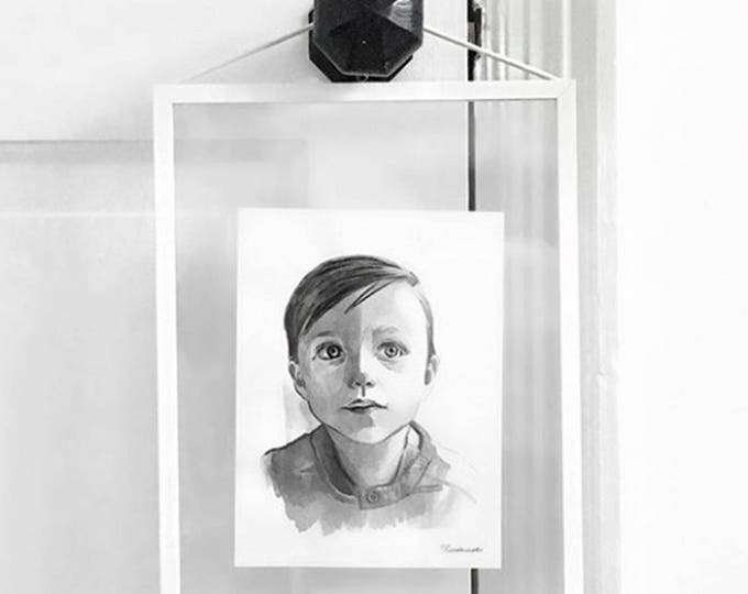 CUSTOM Black and White Ink Portrait