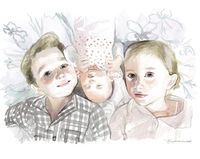 Children Portrait in Watercolour