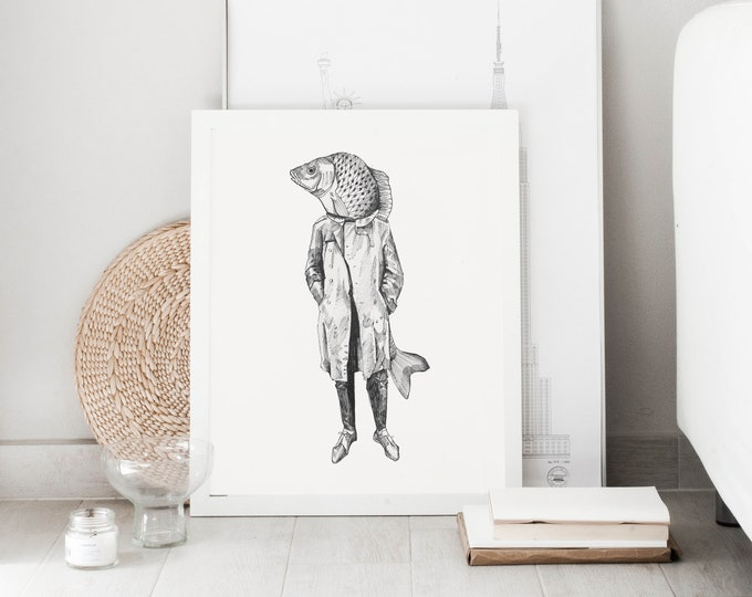 Fish Man print