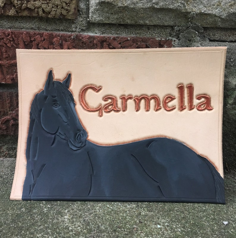 Custom Leather Stall Sign-Partially Painted