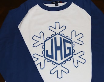Snowflake Holiday Personalized Monogram 3/4 sleeve baseball raglan t-shirt Christmas Youth XS through Youth XL Sizes Available     AH