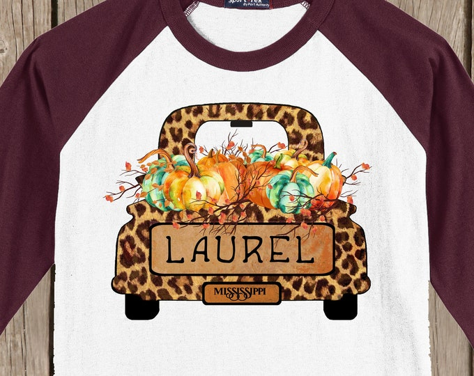 LAUREL Mississippi Autumn Raglan 3/4 sleeve style T shirt truck filled w Pumpkins, words Laurel Mississippi -s,m,xl,yxs,ys,ym,yl