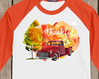 Laurel Mississippi Vintage Antique Red Truck Autumn Thanksgiving Thankful T shirt 3/4 sleeve baseball style raglan - SMALLs AND 2X AVAILABLE