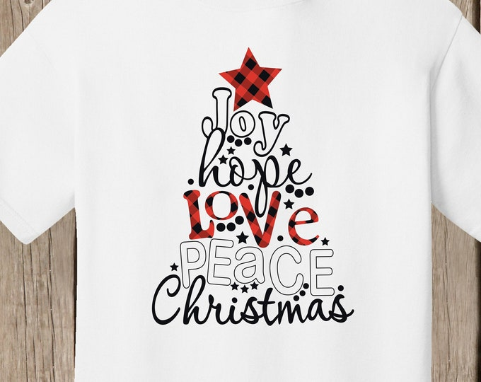 Joy Hope Love Peace Christmas white T Shirt - wording in shape of Christmas Tree - with red and black plaid star at top