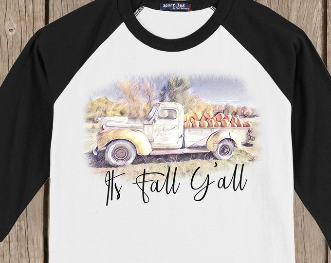 Vintage Antique Truck Autumn Thanksgiving It's Fall Y'all Farm T shirt 3/4 sleeve baseball style raglan - several colors