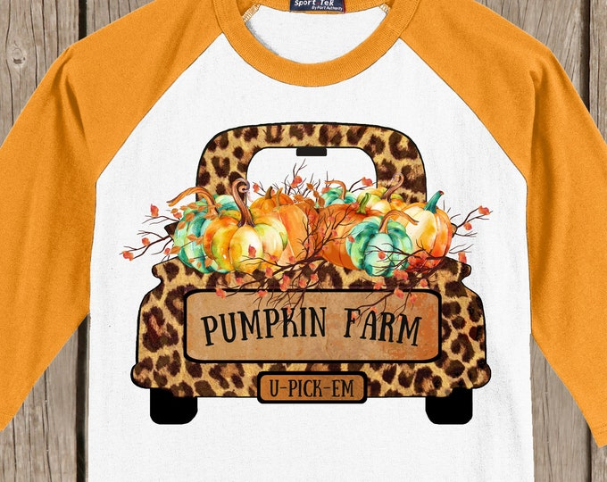 CLEARANCE LARGE Vintage Antique Truck Autumn Thanksgiving Pumpkin cheetah print Fall Farm T shirt 3/4 sleeve baseball style raglan