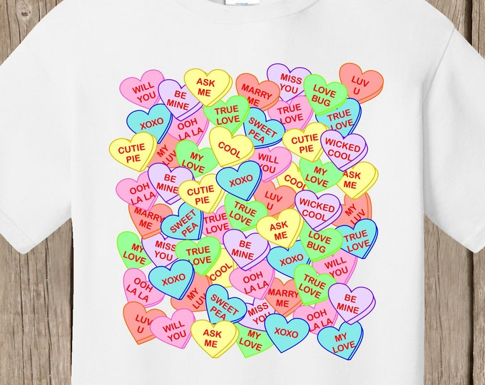 Valentines T shirt covered with conversation hearts and many messages - white high quality T shirt - ships very quickly