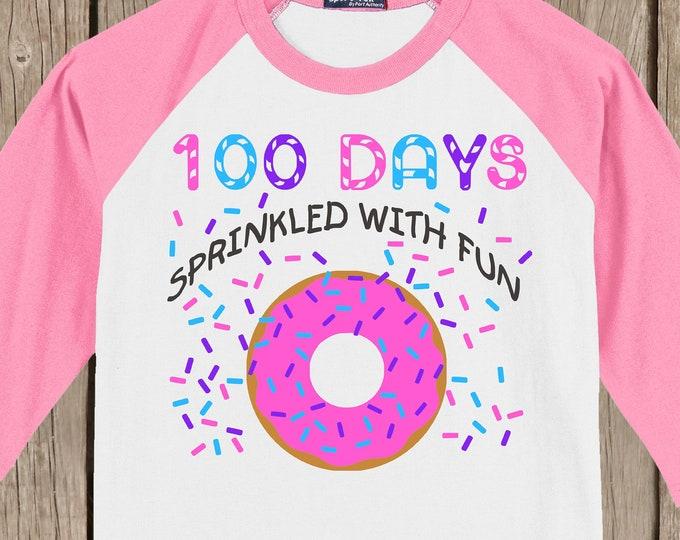 100th Day of School Raglan T Shirt - 100 sprinkles - 100 days sprinkled with fun - Celebrate 100 days of school!!