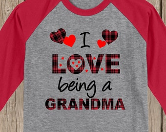 Plaid Valentines Hearts I love being a Grandma raglan w YOUR title - MeMe, MiMi, Nona, Nonnie, Nana, Aunt